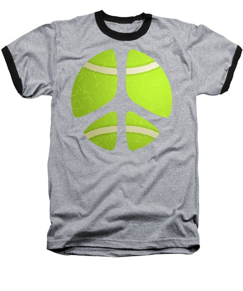 Tennis Ball Peace Sign Baseball T-Shirt by David G Paul