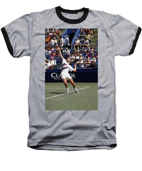 Tennis Serve Baseball T-Shirt by Sally Weigand