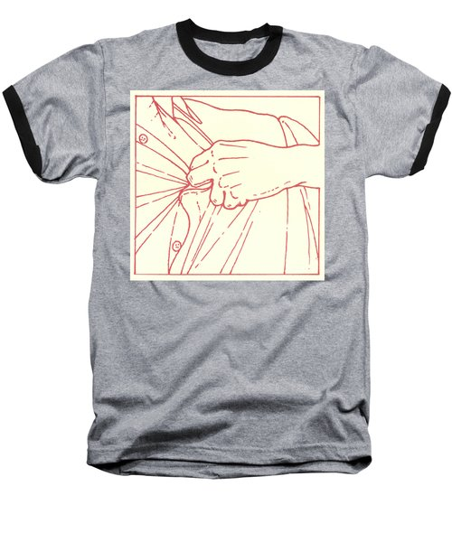 Baseball T-Shirt featuring the drawing Tenth Station- Jesus Is Stripped Of His Garments by William Hart McNichols