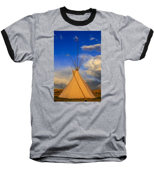 Tepee At Sunset In Montana Baseball T-Shirt by Chris Smith