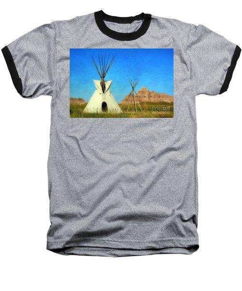 Tepee In Badlands Baseball T-Shirt