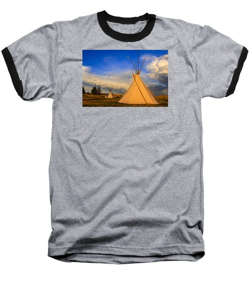 Tepees At Sunset In Montana Baseball T-Shirt by Chris Smith