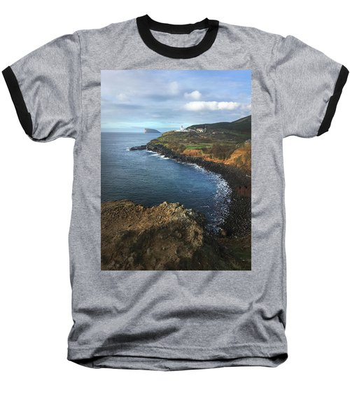 Terceira Island Coast With Ilheus De Cabras And Ponta Das Contendas Lighthouse  Baseball T-Shirt by Kelly Hazel