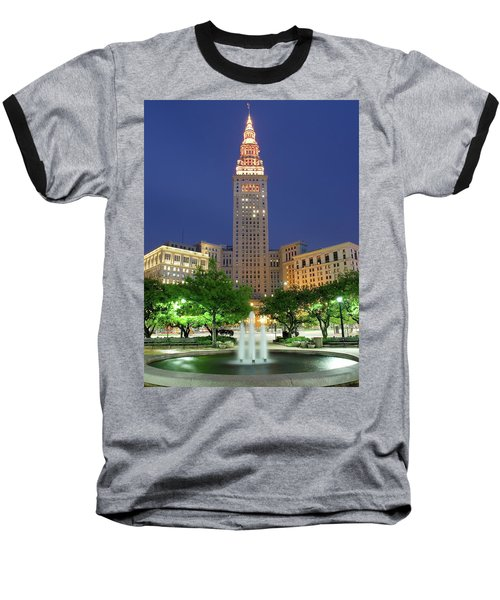 Terminal Tower Baseball T-Shirt by Frozen in Time Fine Art Photography