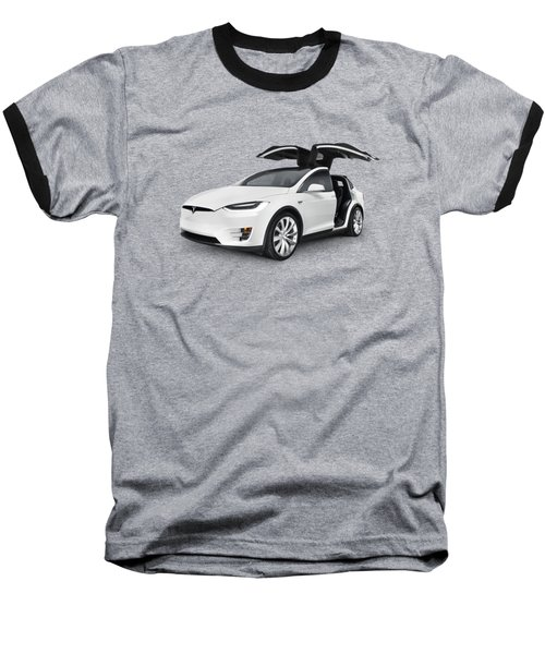 Tesla Model X Luxury Suv Electric Car With Open Falcon-wing Doors Art Photo Print Baseball T-Shirt by Oleksiy Maksymenko