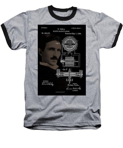 Tesla Motor Patent Drawing Baseball T-Shirt