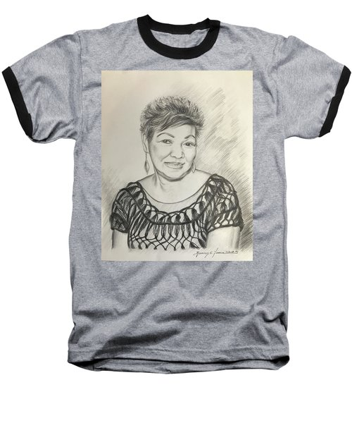 Baseball T-Shirt featuring the drawing Tessie Guinto  by Rosencruz  Sumera