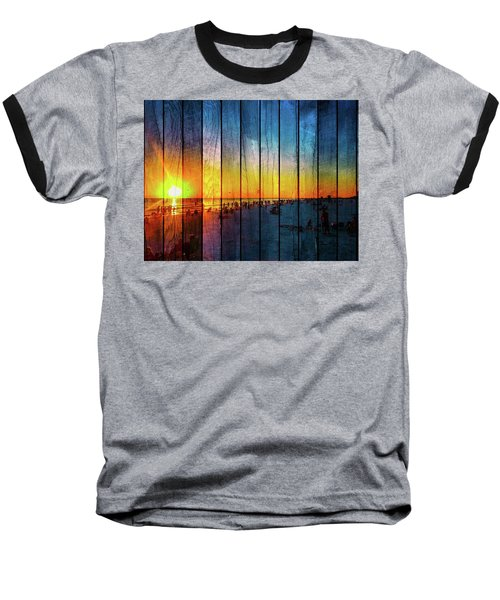 Siesta Key Drum Circle Sunset - Wood Plank Look Baseball T-Shirt