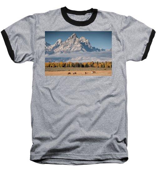 Baseball T-Shirt featuring the photograph Teton Horses by Wesley Aston