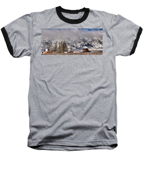 Baseball T-Shirt featuring the photograph Teton Mormon Row Panorama by Adam Jewell