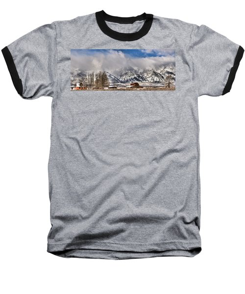 Baseball T-Shirt featuring the photograph Teton Mountains Over Mormon Row by Adam Jewell