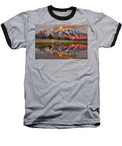 Teton Mountains Sunrise Rainbow Baseball T-Shirt