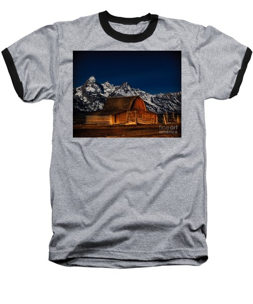 Teton Mountains With Barn Baseball T-Shirt