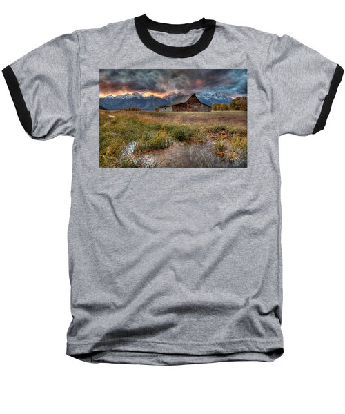 Teton Nightfire At The Ta Moulton Barn Baseball T-Shirt