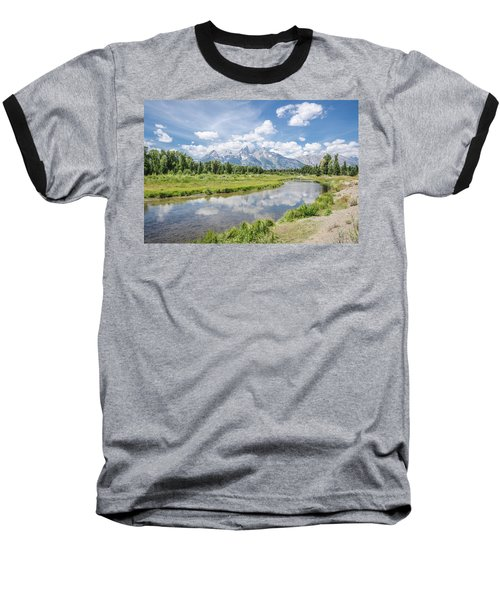 Baseball T-Shirt featuring the photograph Tetons At Schwabacher Landing by Margaret Pitcher