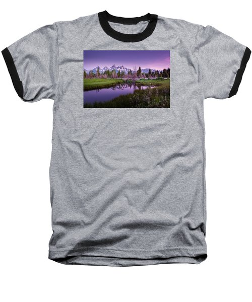 Tetons In Pink Baseball T-Shirt by Mary Angelini