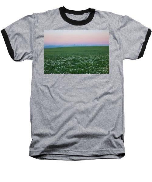 Tetons With Daisies Baseball T-Shirt
