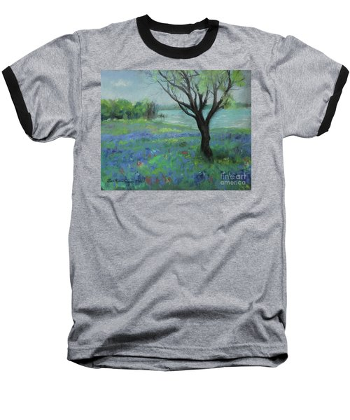 Baseball T-Shirt featuring the painting Texas Bluebonnet Trail by Robin Maria Pedrero