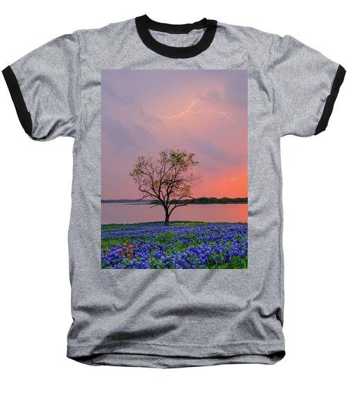 Texas Bluebonnets And Lightning Baseball T-Shirt