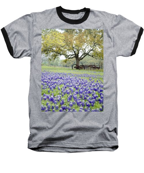 Texas Bluebonnets And Rust Baseball T-Shirt by Debbie Karnes