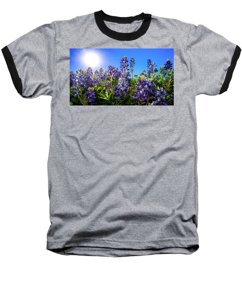 Texas Bluebonnets Backlit II Baseball T-Shirt by Greg Reed