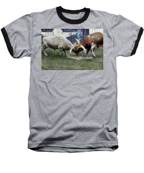 Texas Bull Fight  Baseball T-Shirt