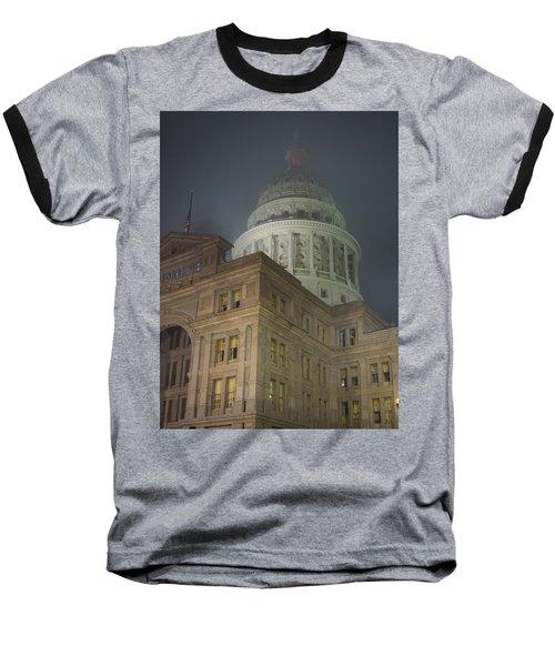 Texas Capitol In Fog Baseball T-Shirt