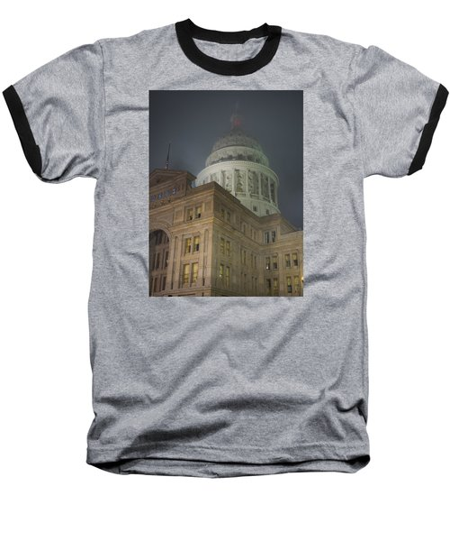 Texas Capitol In Fog Baseball T-Shirt