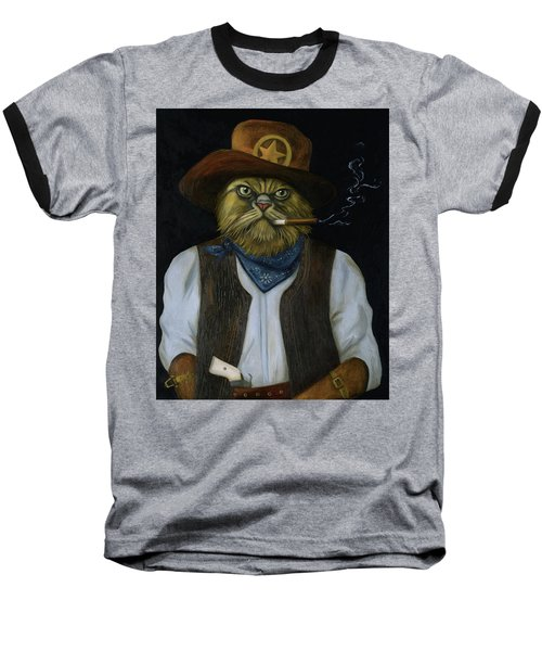 Baseball T-Shirt featuring the painting Texas Cat With An Attitude by Leah Saulnier The Painting Maniac