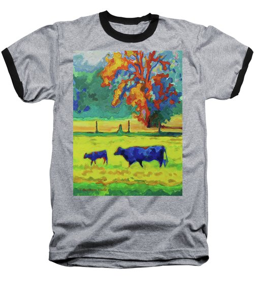 Texas Cow And Calf At Sunset Print Bertram Poole Baseball T-Shirt by Thomas Bertram POOLE