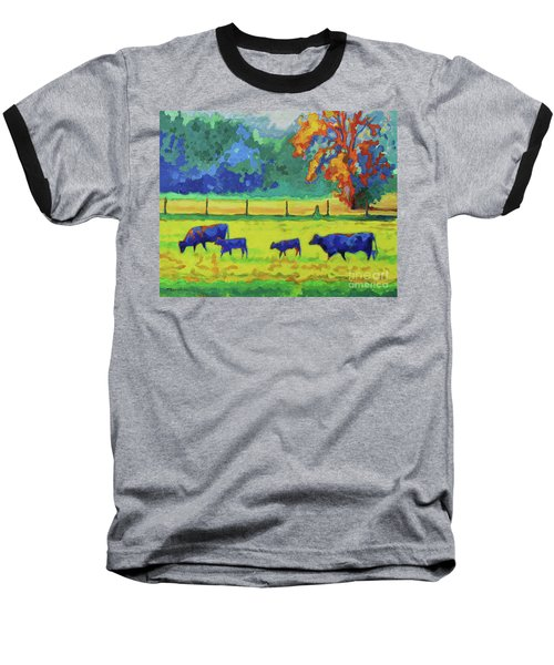 Baseball T-Shirt featuring the painting Texas Cows And Calves At Sunset Painting T Bertram Poole by Thomas Bertram POOLE