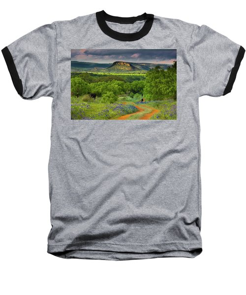 Texas Hill Country Ranch Road Baseball T-Shirt by Darryl Dalton