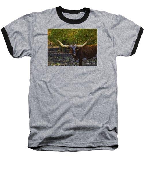 Baseball T-Shirt featuring the photograph Texas Long Horn Bull by Melissa Messick