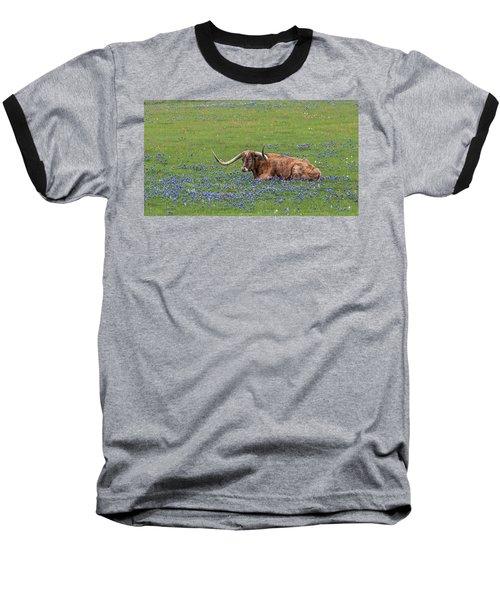 Texas Longhorn And Bluebonnets Baseball T-Shirt