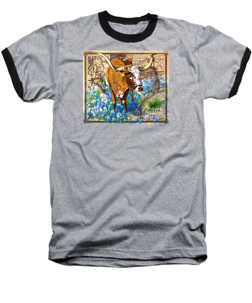 Texas Longhorn In Bluebonnets Baseball T-Shirt