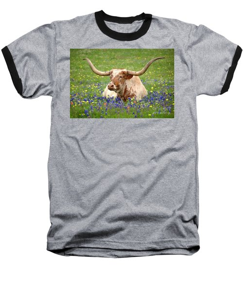 Texas Longhorn In Bluebonnets Baseball T-Shirt by Jon Holiday