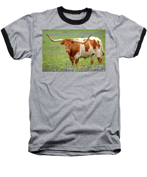 Texas Longhorn Standing In Bluebonnets Baseball T-Shirt by Jon Holiday