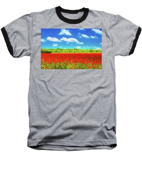 Texas Red Poppies Baseball T-Shirt