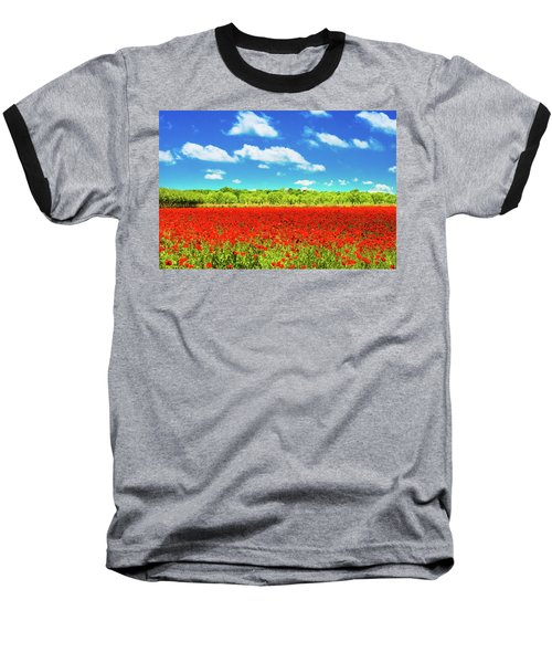 Texas Red Poppies Baseball T-Shirt