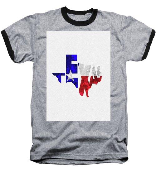 Texas Typographic Map Flag Baseball T-Shirt