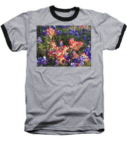 Baseball T-Shirt featuring the painting Texas Wildflowers by Karen Kennedy Chatham