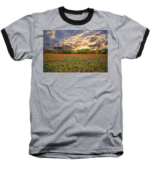Texas Wildflowers Under Sunset Skies Baseball T-Shirt by Lynn Bauer