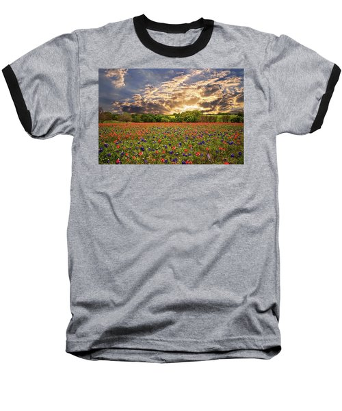 Texas Wildflowers Under Sunset Skies Baseball T-Shirt