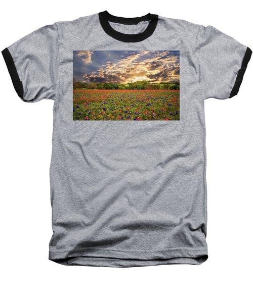 Texas Wildflowers Under Sunset Skies Baseball T-Shirt