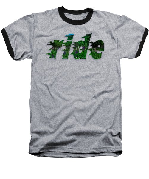 Text Lupen Ride Baseball T-Shirt by Mim White