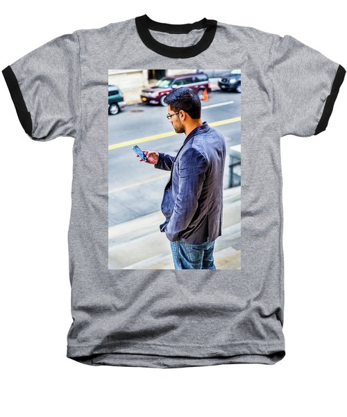 Man Texting Baseball T-Shirt