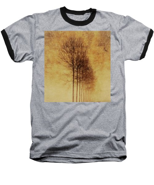 Baseball T-Shirt featuring the mixed media Textured Eerie Trees by Dan Sproul