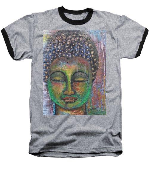 Baseball T-Shirt featuring the painting Textured Green Buddha by Prerna Poojara