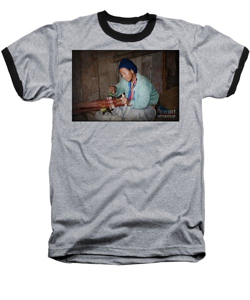 Baseball T-Shirt featuring the photograph Thai Weaving Tradition by Heiko Koehrer-Wagner