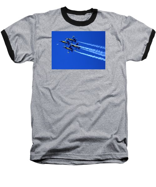 Thanks Goodness For That Fourth Dimension As A Boeing 767 Transitions Above The Box. Baseball T-Shirt